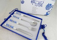 beautiful dinner sets - Beautiful Chinese blue and white porcelain ceramic dinner set with stainless steel for gift