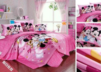 Wholesale pink color mickey minnie mouse kids bedding cotton pink mickey minnie mouse comforter sheet twin queen and king size