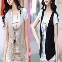 Wholesale New Women All match Slim Black Vest Women Casual Waistcoat Vests Ladies Clothing