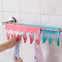 Wholesale 50PCS LJJH1265 Hot Sell clip Portable fabric hangers Travel folding hangers The bathroom hanging bar Cloth clip