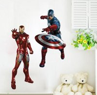 america live - Superhero Captain America Iron man D Movie Wall Stickers new The Avengers Removable Vinyl Wall Sticker Decals Kids children Room Decor gift