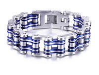 bicycles east - Men fashion blue thickened bicycle L stainless steel bracelet men s bicycle motorcycle chain titanium steel bangle jewelry