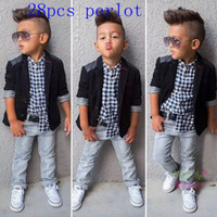 baby pants blazer - Boys outfits Clothing Set Gentleman Casual Blazer Shirts Jeans Pants with belt Suit Wedding Party Baby Boys Clothes Kids Sets