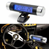 Wholesale Fashionable Car Electronic LCD Digital blue backlight Automotive Thermometer Clock Calendar with Clip