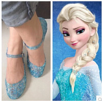 Wholesale HOT Frozen shoes Elsa princess sandal fashion girls cutout footwear Special Christmas gift for girls