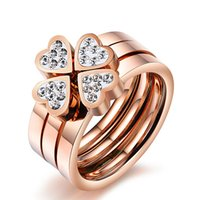 Cheap 6# 7# 8# 9# New Fashion Jewelry Unique 3in1 Heart Rings For Women Surgical Steel Nickle CZ Cubic Zirconia Clover rings