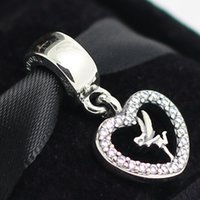 925 sterling silver beads - 2015 New Sterling Silver Tinkerbell Dangle Charm Bead with Clear Cz Fits European Pandora Jewelry Bracelets Necklaces Pendants