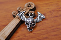 Wholesale Cross Pendant Connector - Top Sale 200pieces 22mm Skull vampire Charms connector Lover Pendant 7174 Beads 925 Tibet Silver DIY Jewelry Beads Europe Bracelet Necklace