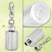 alcohol shots - EG0311 Silver oz Keychain Mini Shot Flask Alcohol Liquor New