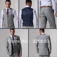 Wholesale Custom Made Slim Fit Two Buttons Light Grey Groom Tuxedos Notch Lapel Best Man Groomsmen Men Wedding Suits Jacket Pants Tie Vest free ship