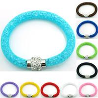 Infini lien bracelet Avis-Vente en gros nouvellement Bracelets Charme 10 Couleur Crystal maille Magnetic Fermoir Infinity Link BraceletsBangles Mix Mix Bijoux