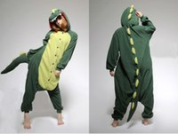 Wholesale Green Dinosaur Animal Costume Kigurumi Pajamas Cosplay Halloween Suits Adult Romper Cartoon Jumpsuits Unisex Animal Sleepwear