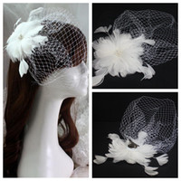 al por mayor accesorios para el cabello de plumas de novia blanco-Elegante pluma con cuentas cabello velo cabeza nupcial vestidos de la cabeza accesorios de plumas blancas cabello decoración 2016