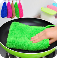 kitchen towels - Double Layers CM Multi Color Magic Bamboo Microfiber Kitchen Washing Dish Cleaning Cloth Scouring Pad Towel QD8
