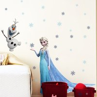 Wholesale DHL Elsa Olaf Removeable D Snow Queen Wall Stickers baby s room cartoon Decals Nursery snow background wallpaper J032704