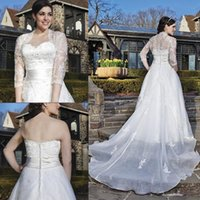 Cheap Sexy Vintage A Line Lace Appliqued Beaded Hot Church Ivory Plus Size Wedding Dresses Chapel Train Bridal Gowns With Free Lace Jacket Wrap