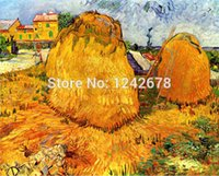Cheap haystacks in provence 1888 van gogh oil painting reproductions wall decor oil painting on canvas pintura em tela metal wall art