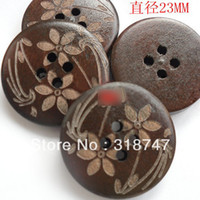 Wholesale MM Holes DIY Circular Wooden Buttons Laser Marking Wood Button Clothing Accessories