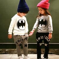 batman briefs - 2 Color Boy and girl Batman Pure cotton Suits new children Cartoon Batman Long sleeved Sport Suits B001