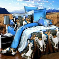 bedspreads and coverlets - White and Black horses animals bedding sets duvet quilt bed comforter covers for queen size bedspreads pillowcase coverlet