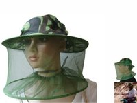 Wholesale Camouflage Wide Brim Hats Hunting Mesh face Mask Cap Mosquito Bee Bug Insect Fishing Hat Resistance Net Mesh Head Face Protector Cap Sun Hat