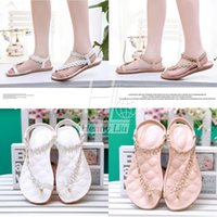 Wholesale New fashion sandals Bohemian flowers hollow out thong women summer shoes PU leather flat shoes