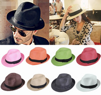 As the Picture straw hat fashion straw hat fedora straw hat - Trendy Unisex Straw Panama Fedora Hats Summer Stingy Brim Unisex Casual Beach Travel Caps Mix Colors Choose ECP