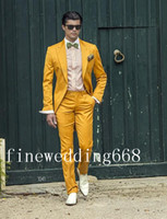 Wholesale New products listed Peak Lapel One Button Golden Yellow High quality Groom Tuxedos Suit Wedding Men s suits Jacket Pants Tie
