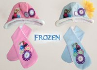 Wholesale Frozen scarf hats suit Ice snow princess scarves cap Anna Elsa Children clothing Snow adventure Embroidery hats sets ZB