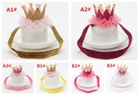 Wholesale Lace Headbands White - 2016 Baby Crown Headband Hairclips Infant Baby Bling Elastic Headwear New Born Baby Photography Props Lace Hair Accessories
