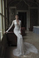 Cheap 2016 Lace Dresses ot Sell Berta Long Sleeve Backless Low Cut V Neck Open Back Beach Bridal Gown Lace Mermaid Wedding Dresses with Pearls on