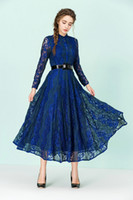 beauty empire waist - 2016 early spring beauty dress put on a large waist dress hit color embroidered lace dress