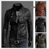 korean leather jacket - Trendy Leather Jacket Men Leather Jackets Mens motorcycle Coats Korean Slim Jacket Men s Fashion Oblique Zipper Lapel Neck Pocket Outerwear