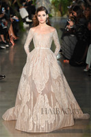 Cheap Elie Saab Champagne Prom Dresses Fashion Scoop Lace Applique Crystals Long Sleeve Belt Sash HD A Line Floor Length Cheap Evening Party Dress