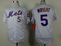 Wholesale 2015 Mets Baseball Jerseys New David Wright Home Jersey White Striped Baseball Wear Hot Sale Men s Jerseys Discount Athletic Uniforms
