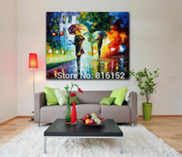 bedroom color palettes - 100 Hand painted Painting Rainy Night Canvas Oil Painting Frameless Color Palette Picture for Living Room Bedroom Wall Decoration