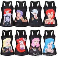 ariel black - New women t shirt The Little Mermaid vest Ariel Cartoon print camisole Sexy fashion punk