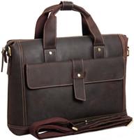 crazy horse leather - New retro crazy horse leather Men messenger bags Cowhide Leather bags Briefcase Handbags Attache Briefcase Laptop Bags