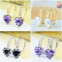 zirconia stud earrings - High Quality Mixed Designs Colors Love Hearts Cubic Zirconia Jewelry Drop Dangle Women Girls Earrings and Hoop Stud Earrings
