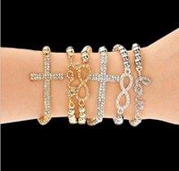 Wholesale New bead Elastic lady women girls fashion bracelets leaf number love letter alloy rhinestone charm bracelet jewelry styles mix