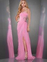 Cheap 2014 2015 Hot Selling A-Line Prom Dresses Chiffon Crystal Bateau Sleeveless Backless Sweep Train Sexy Peplum Split Side Evening Dresses
