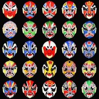 Wholesale 10pcs feather masquerade masks Venetian Color Direct Shi Face Mask Beijing Opera mask Peking Opera masks flocking Peking Opera m