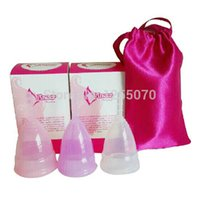 Wholesale 2pc Medical Silicone Menstrual Cup for Women Feminine Hygiene Product Small and Big Size Colors for Choose order lt no track