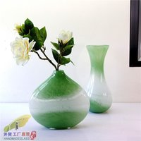 Wholesale Fashion green handmade glass vase modern fashion home decoration craft wedding gift