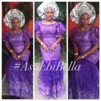 bella wear - Square Neck Purple Lace Aso Ebi Dresses Evening Wear Ruffles Appliques Cap Sleeve Plus Size Tiered bella naija Wedding Party Prom Gowns