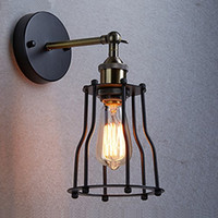bedroom feature wall - Industrial Edison Vintage Wall Sconce Lamp Light Wire Cage Shade Featured Lamp for bedroom hallway coffee bar