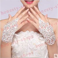 Wholesale Hot Sale High Quality Flowers White Bridal Gloves Fingerless Rhinestone Satin Lace Wedding Party Prom Wrist Gloves