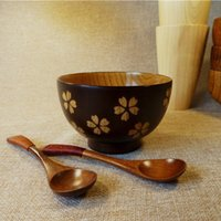 Wholesale Chinese Tranditon Cherry blossom Wooden Bowl Hot Protection Wood Bassie inch