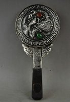 belle mirror - Rare Handwork Miao Silver Carved Dragon Phoenix Suitable For Belle Hand Mirror