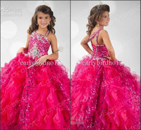 Wholesale 2016 Rachel Allan Flower Girl Dresses Fuchsia Spaghetti with Ruffles Organza Beads Princess Pageant Ball Gowns RG6347